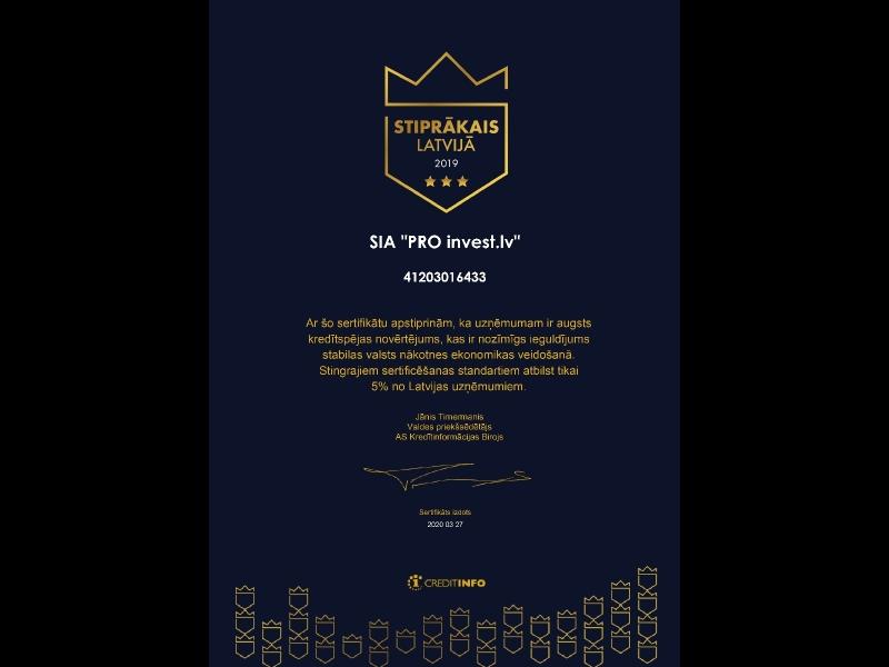PRO invest lv sertificate LV 2019