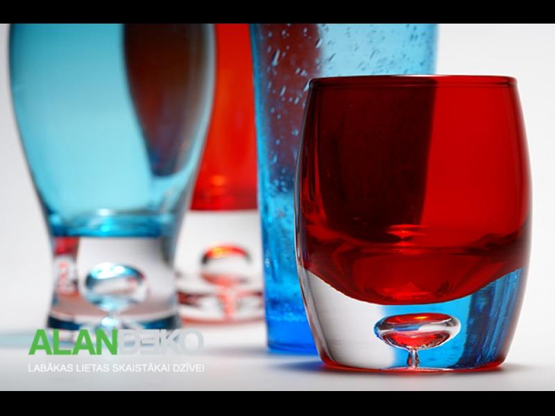 ALANDEKO trauki krāsainas glāzes zilas sarakanas