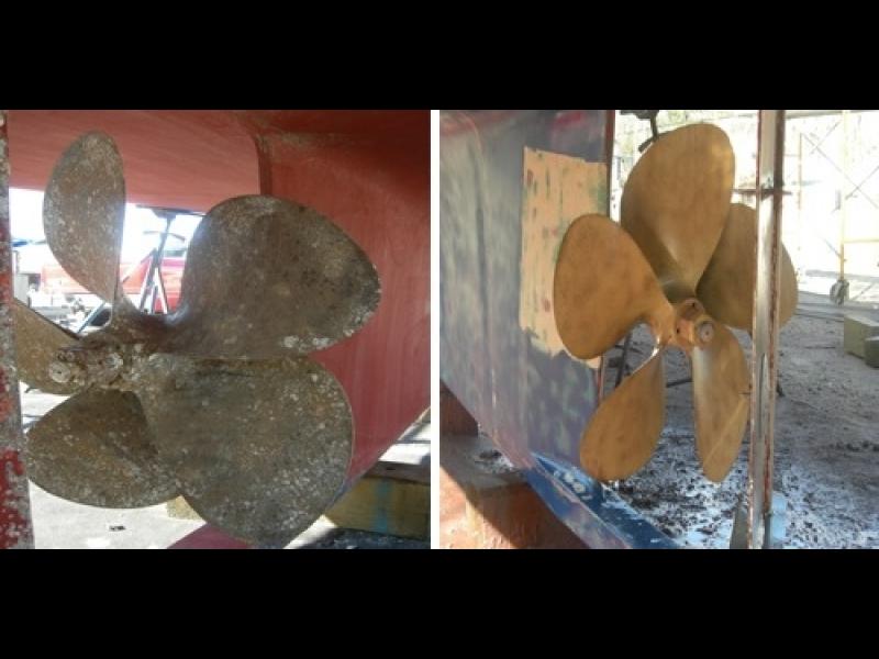 Dzenskrūve kuģim, bruģa, ķieģeļu, koka, tīrīšana ar strūklu