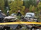 """Dzīvojamās mājas drupas Saulkrastu novadā dārzkopības kooperatīva """"VEF-Biķernieki"""" teritorijā, kur noticis sprādziens un nelaimē gājuši bojā pieci cilvēki."""