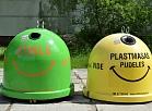Atkritumu tvertnes stiklam un plastmasai.