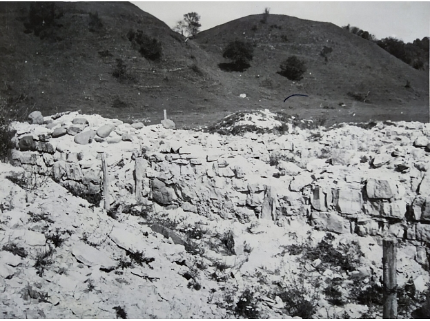 M. Apinis. Skats uz Aizkraukli no baznīcas drupām (1971)