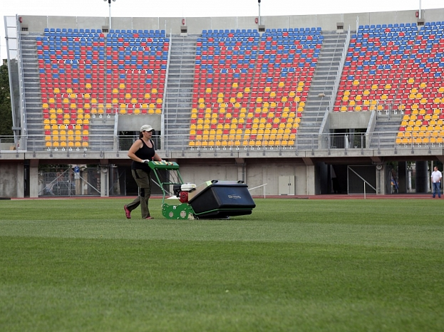 """""""Daugavas"""" stadions pēc rekonstrukcijas un jauno tribīņu būvniecības darbiem."""