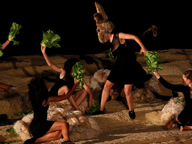 """Actors perform in """"L-Ikla t-Tajba"""" (Have a good meal), a contemporary theatre production by Teatru Malta, at the Xwejni Salt Pans outside Zebbug, on the island of Gozo, Malta August 25, 2018.  REUTERS"""