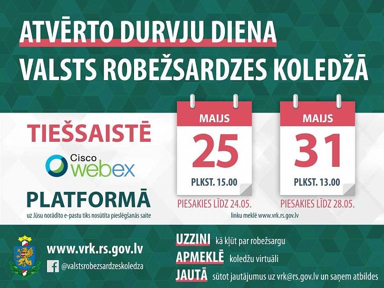 25. un 31.maijā notiks virtuālā Valsts robežsardzes koledžas Atvērto durvju diena
